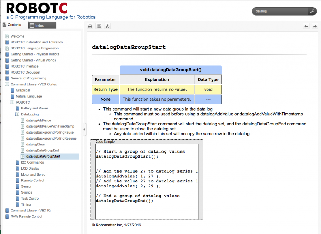 RobotC Datalog Help Screen